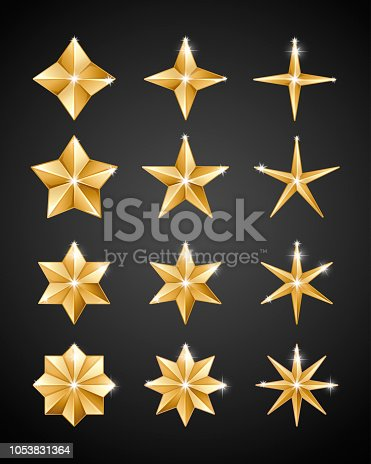 Set of realistic metallic golden stars of different shapes isolated on a black background