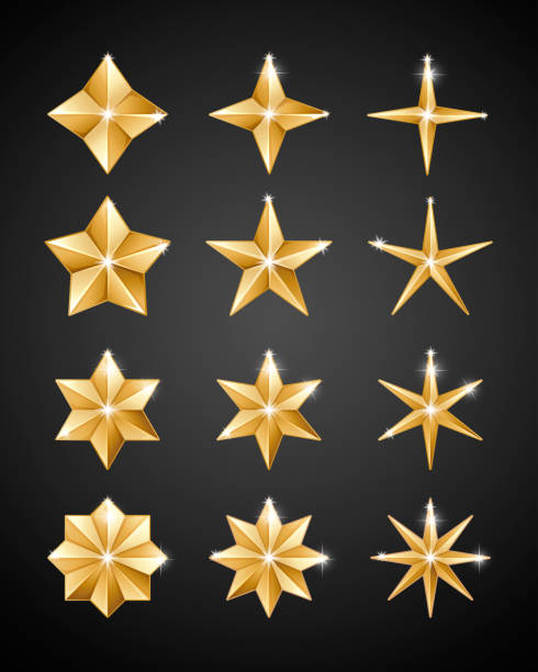 Christmas decoration 2019 Stars Set of realistic metallic golden stars of different shapes isolated on a black background sharp stock illustrations