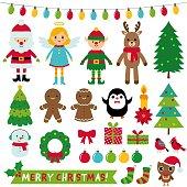Christmas decoration and characters (Santa, elf, angel, reindeer), vector set
