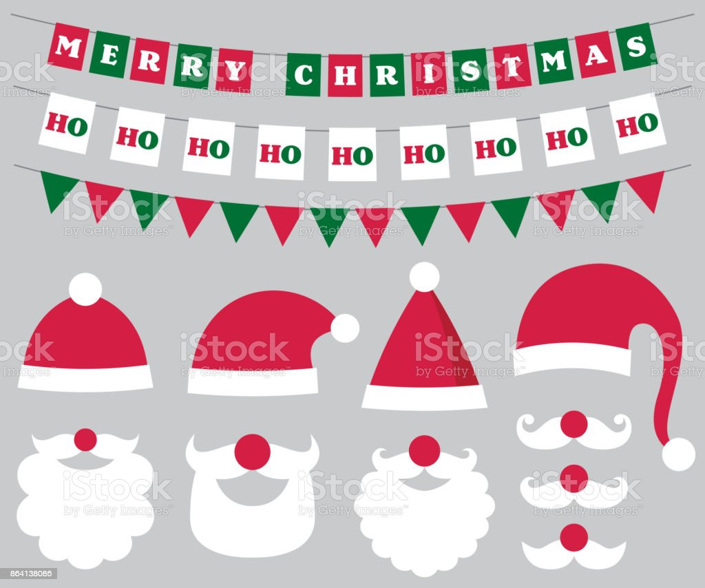 Christmas decoration and Santa hats and beard royalty-free christmas decoration and santa hats and beard stock vector art & more images of beard