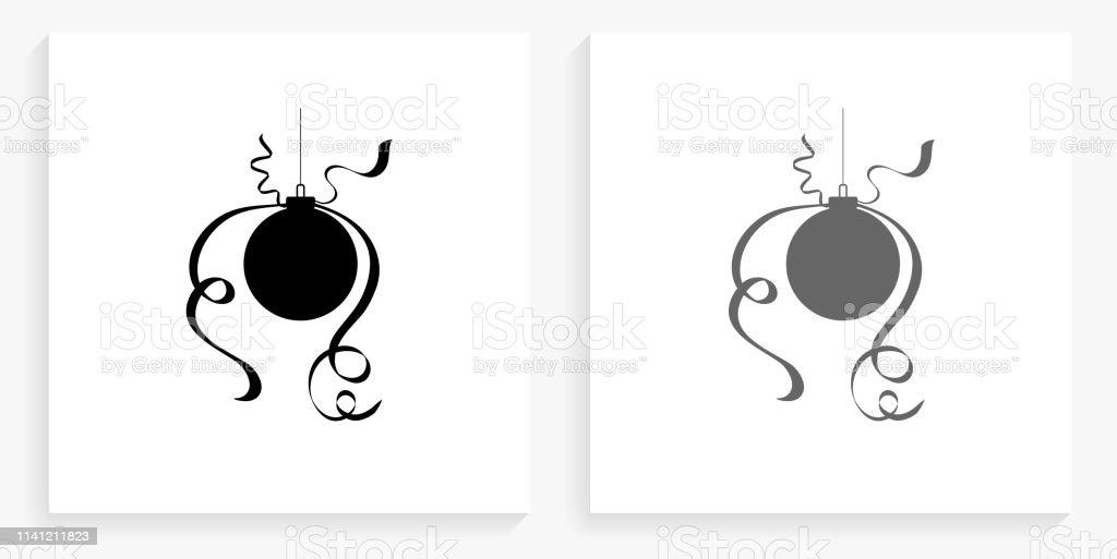 Icône De Noël Décoration Boule Noir Et Blanc Carré Vecteurs