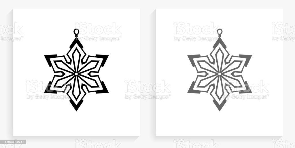 Icône De Décoration De Noël Noir Et Blanc Carré Vecteurs Libres De Droits Et Plus Dimages Vectorielles De Boule De Noël