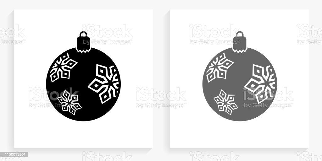 Icône De Décoration De Noël Noir Et Blanc Carré Vecteurs