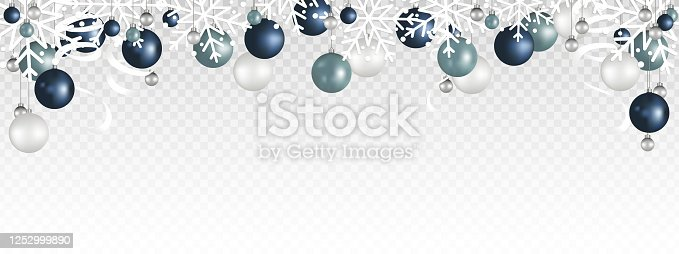 Christmas decoration border with White snowflake, Christmas ball, and Ribbon hanging on transparent background. Vector illustration.