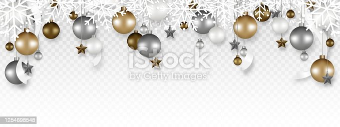 istock Christmas decoration border with White snowflake, Christmas ball, Stars, and Ribbon hanging on transparent background. Vector illustration. 1254698548