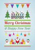 Santa Claus, Snowman, Winter Houses