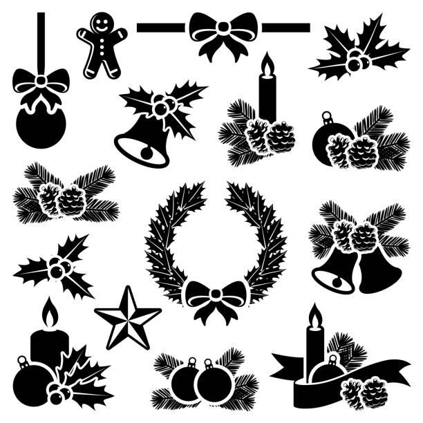 크리스마스 데커레이션 컬레션 - 머리 리본 stock illustrations