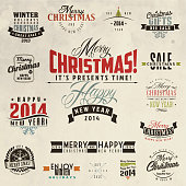 Set of calligraphic and typographic christmas elements, frames, vintage labels and borders.