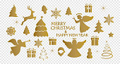 golden christmas decoration ornaments collection