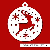 Template for laser cutting, wood carving, paper cut and printing. New Year theme. Vector illustration.