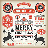 Christmas decoration design elements collection. Typographic elements, vintage labels, frames, ribbons, set. Flourishes calligraphic. Eps 10.