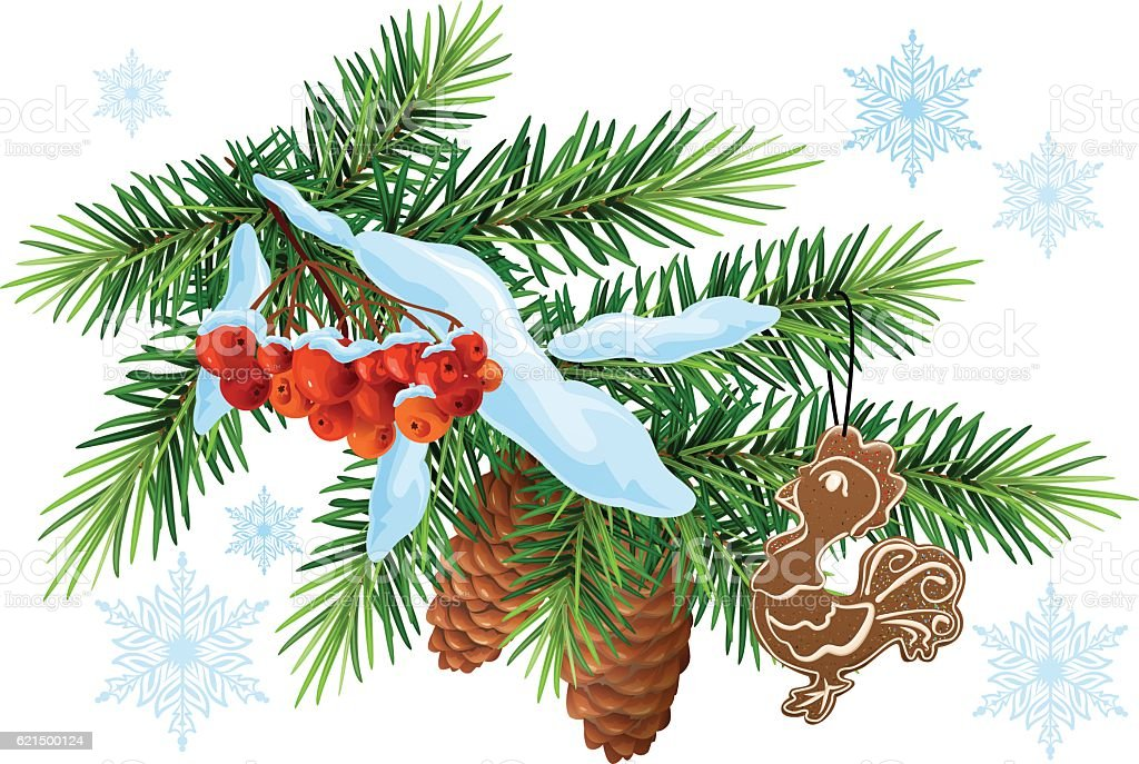 Christmas decoration. Fir branch, gingerbread rooster and rowan berries Lizenzfreies christmas decoration fir branch gingerbread rooster and rowan berries stock vektor art und mehr bilder von ast - pflanzenbestandteil
