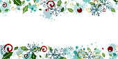 Christmas borders from flying snowflakes, holly berries and leaves, splashes and swirls. Vector colorful design element.