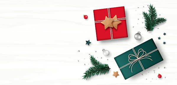 Christmas decoration. Gift box , star, pine tree branch, gray confetti isolated on white wooden background. Top view. Holiday Xmas present decor. Vector illustration.