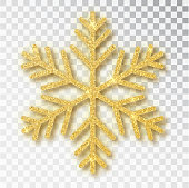 Christmas decoration, golden snowflake covered bright glitter, on transparent background. Xmas ornament gold snow with bright sparkles