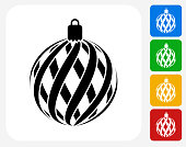 Christmas Decoration Icon. This 100% royalty free vector illustration features the main icon pictured in black inside a white square. The alternative color options in blue, green, yellow and red are on the right of the icon and are arranged in a vertical column.