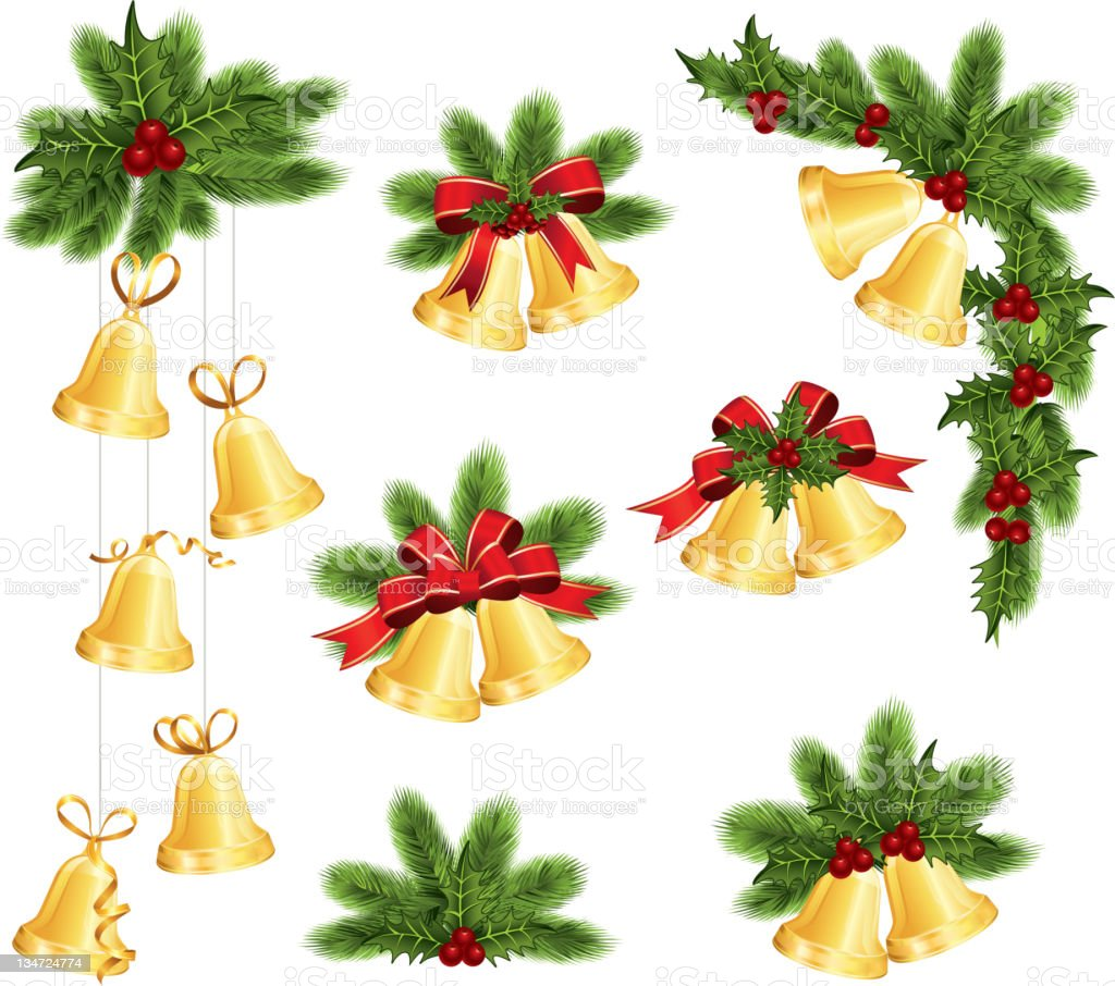 Christmas decoration icons on a white background vector art illustration