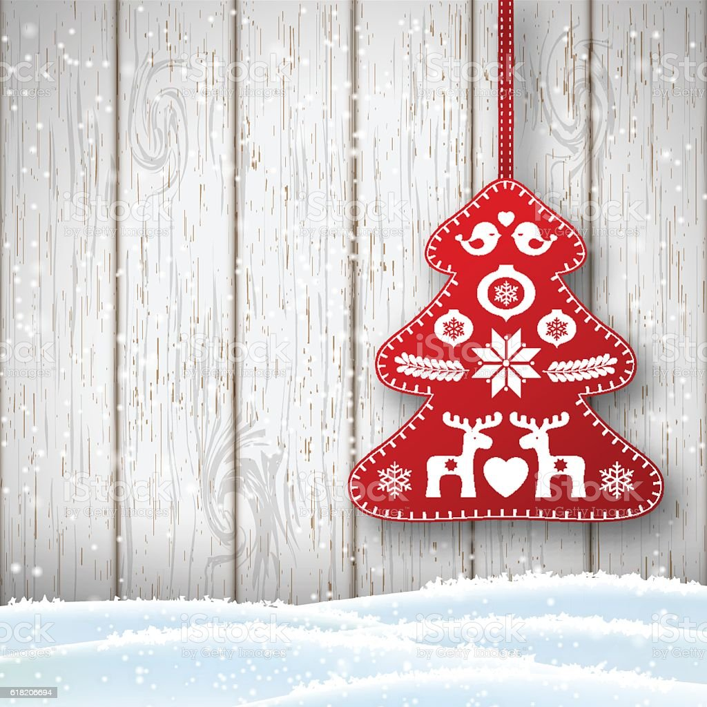 Christmas decoration in scandinavian style, red rich decorated tree in vector art illustration