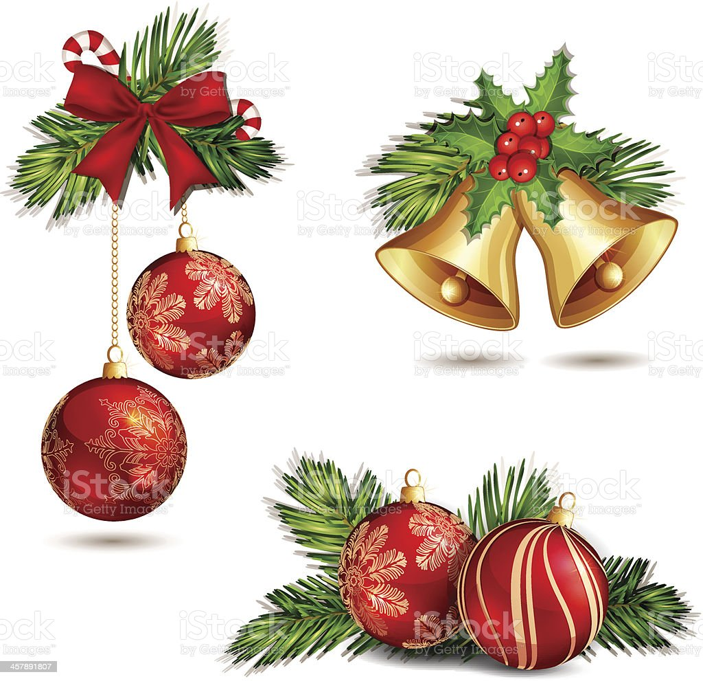 Christmas decoration isolated. vector art illustration