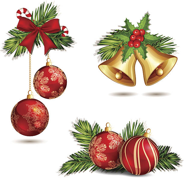 bildbanksillustrationer, clip art samt tecknat material och ikoner med christmas decoration isolated. - christmas decorations