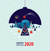 Happy New Year 2020 greetings with Christmas trees, gifts and magical landscape inside Christmas ball with hand drawn elements and textures.
