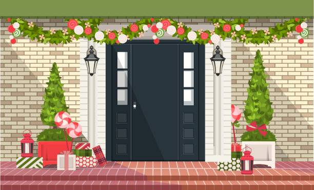 Christmas decoration of entrance doors vector illustration. Christmas decorations on the front door of a residential building, a wreath of plants and garlands, gift wrapping, front stoop stock illustrations