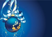 Christmas decoration on blue background. Vector illustration made from gradient fills and gradient mesh. Additional Zip file contains: .AI(8) and High res JPEG.