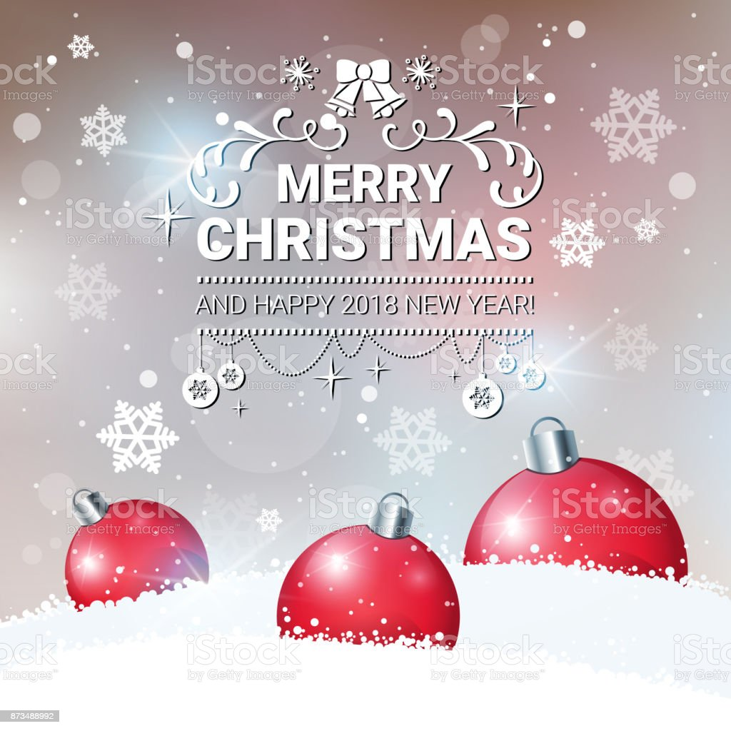 Christmas Decoration Poster Happy New Year 2018 Greeting Card Red ...