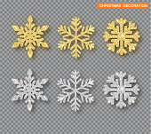 Christmas decoration set, golden and silver glitter covered snowflake