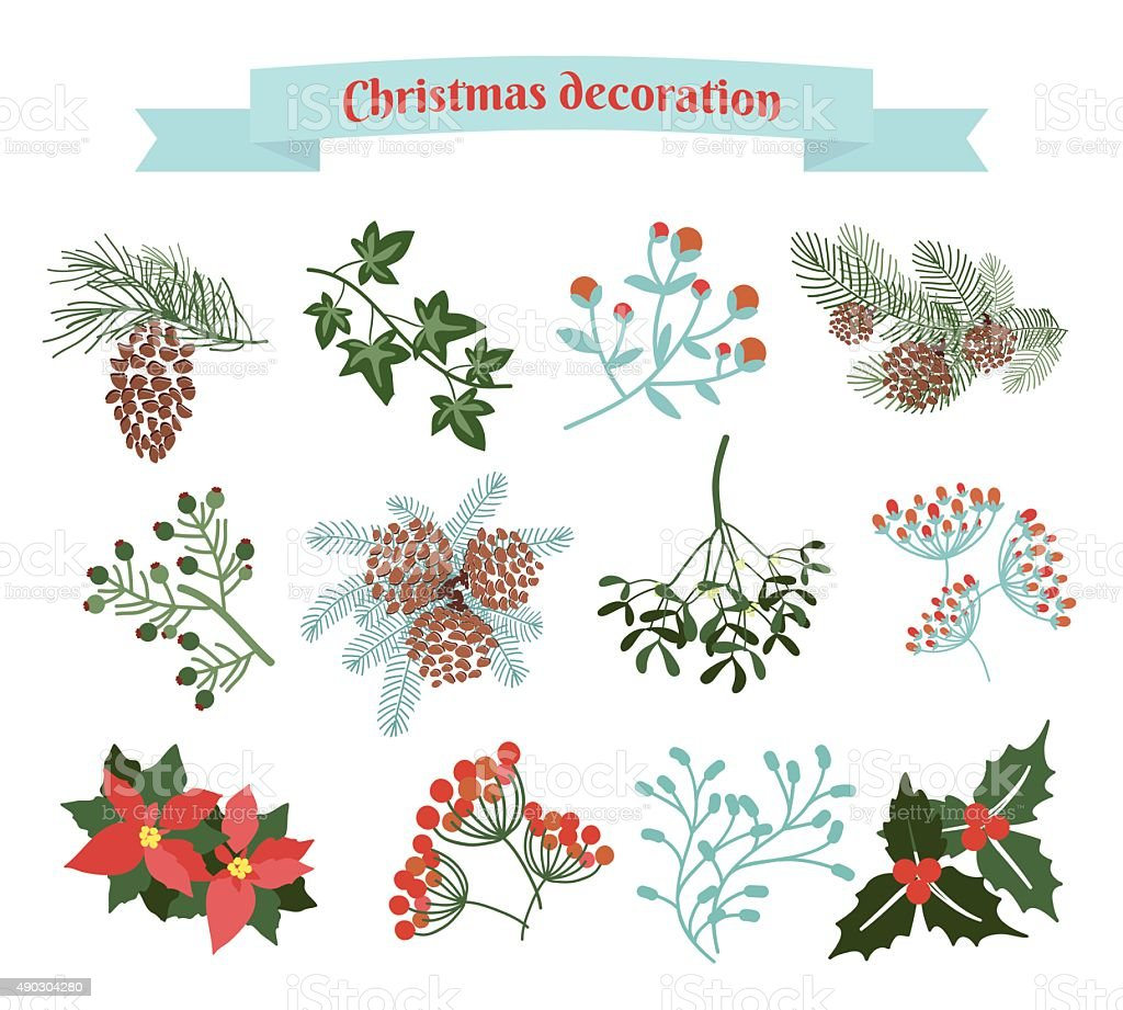 Christmas decoration .  set of elements vector art illustration