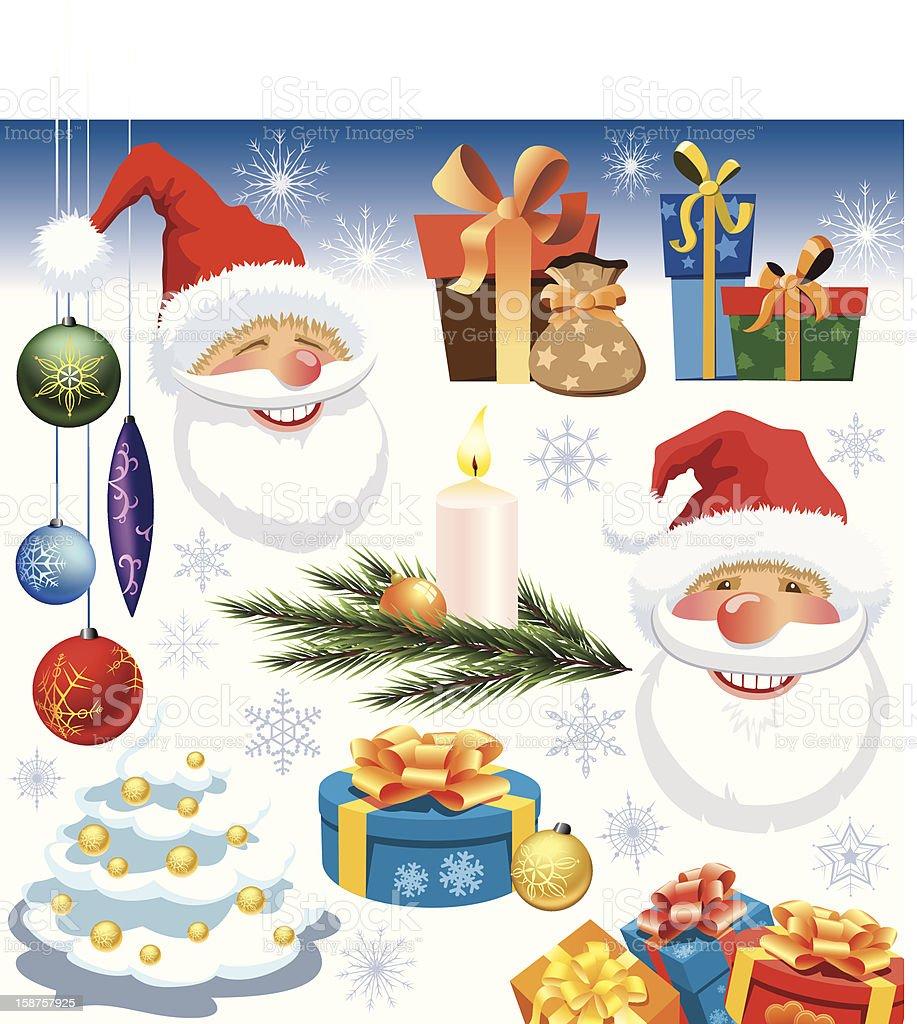 Christmas decoration set vector art illustration