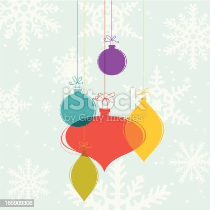 Glass Christmas decoration on snowflake background. Snowflakes clipped under mask, separate elements are on different layers.