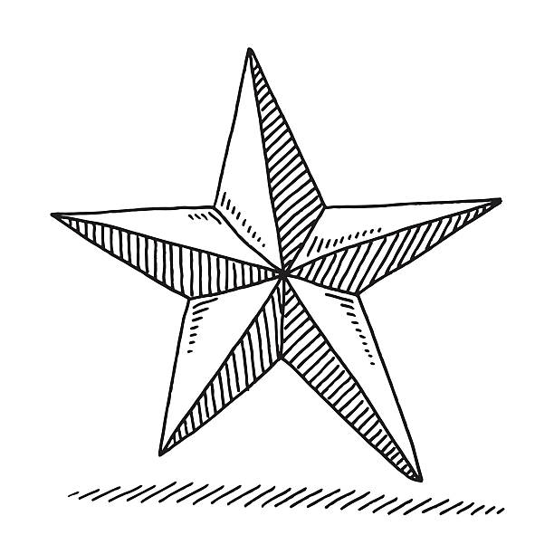 Christmas Decoration Star Drawing Hand-drawn vector drawing of a Christmas Decoration Star. Black-and-White sketch on a transparent background (.eps-file). Included files are EPS (v10) and Hi-Res JPG. celebration stock illustrations