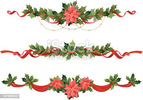 Poinsettia and holly Christmas decoration