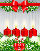 Holiday Greeting. Advent Candle Composition.