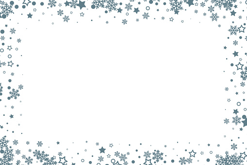 Christmas decoration. Winter holiday design element with snowflakes and stars. Vector ornamental frame