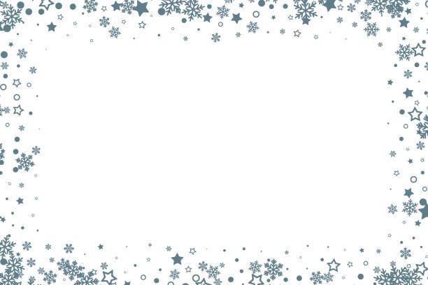 bildbanksillustrationer, clip art samt tecknat material och ikoner med juldekoration. vintersemester designelement med snöflingor och stjärnor. vektor prydnads ram - christmas frame