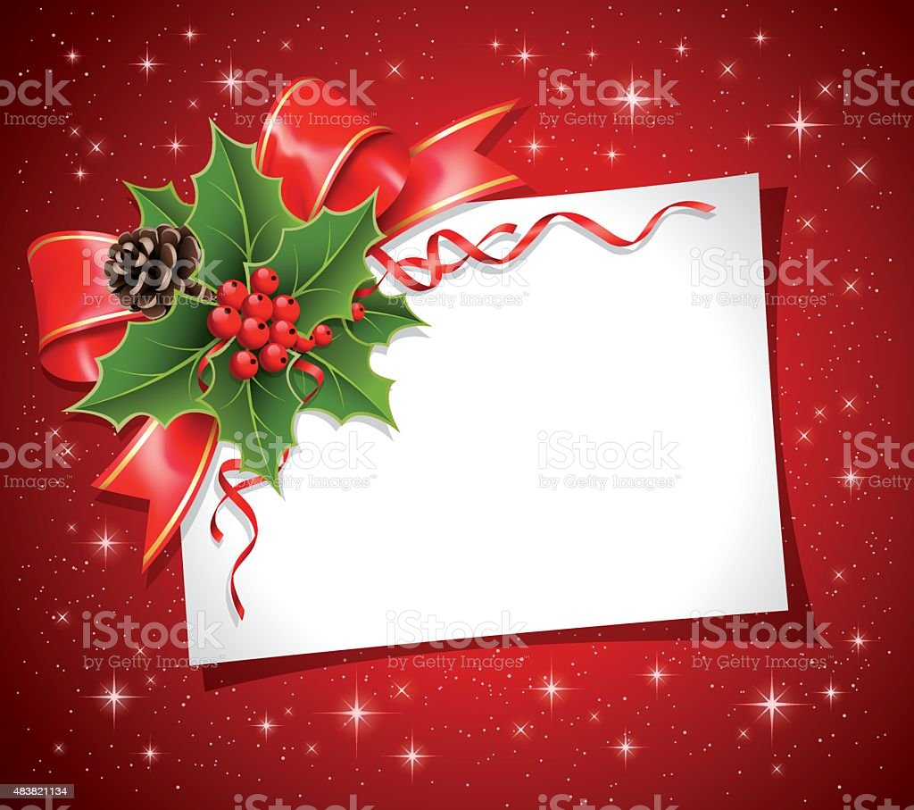Christmas decoration with Blank card vector art illustration
