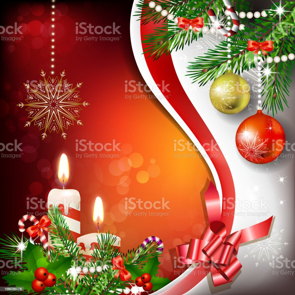 Christmas decoration with candles royalty-free stock vector art