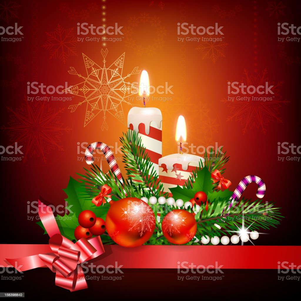 Christmas decoration with candles royalty-free christmas decoration with candles stock vector art & more images of branch - plant part