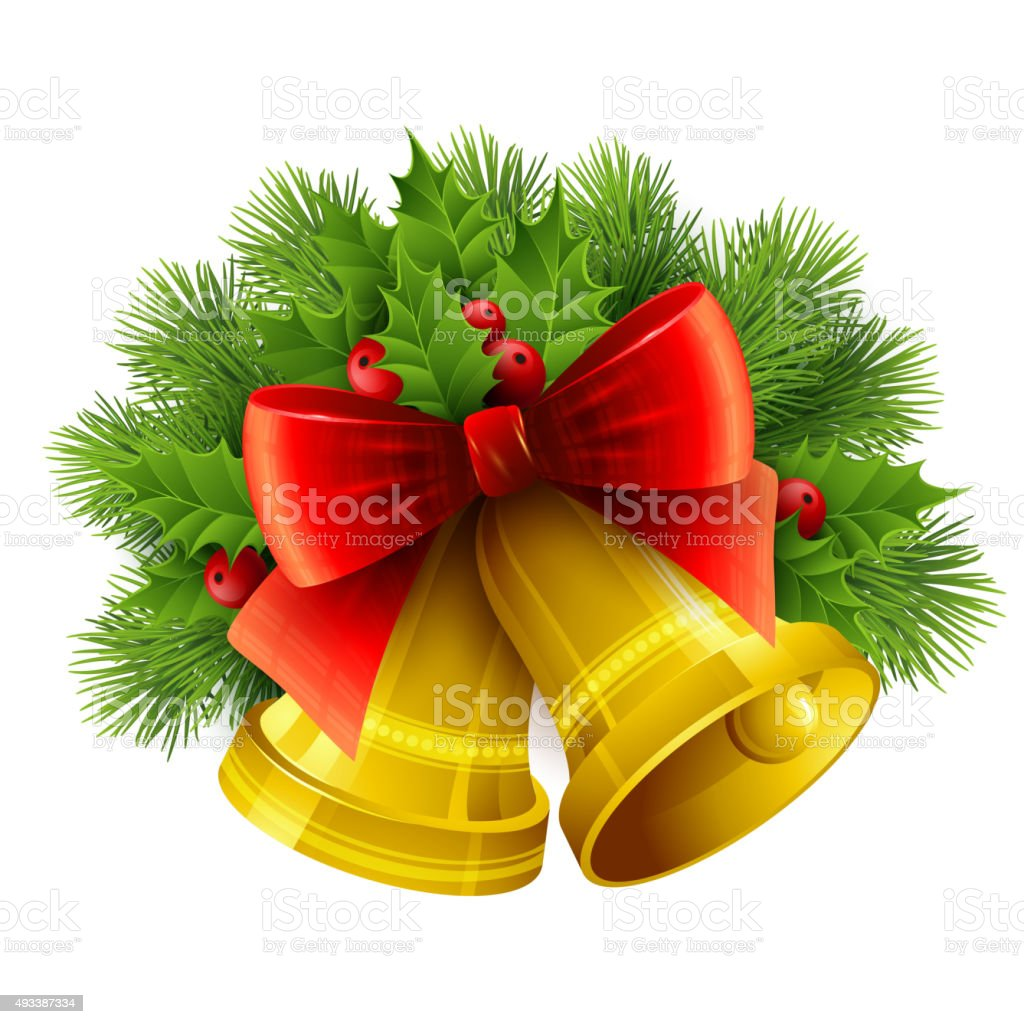Christmas decoration  with evergreen trees, holly  and bells. Vector illustration vector art illustration