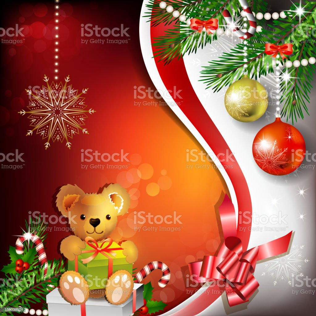 Christmas decoration with ribbon royalty-free stock vector art