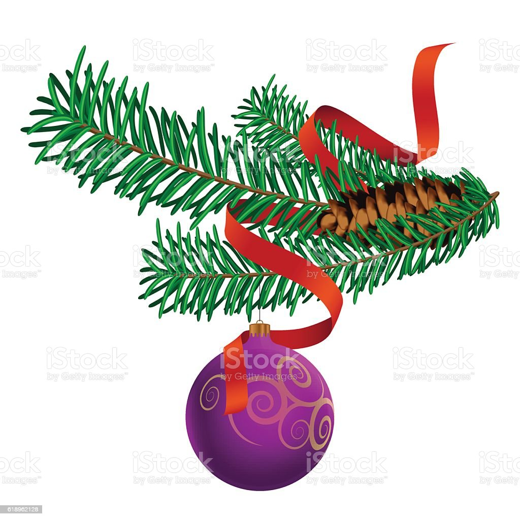 Christmas Decoration with ribbon vector art illustration