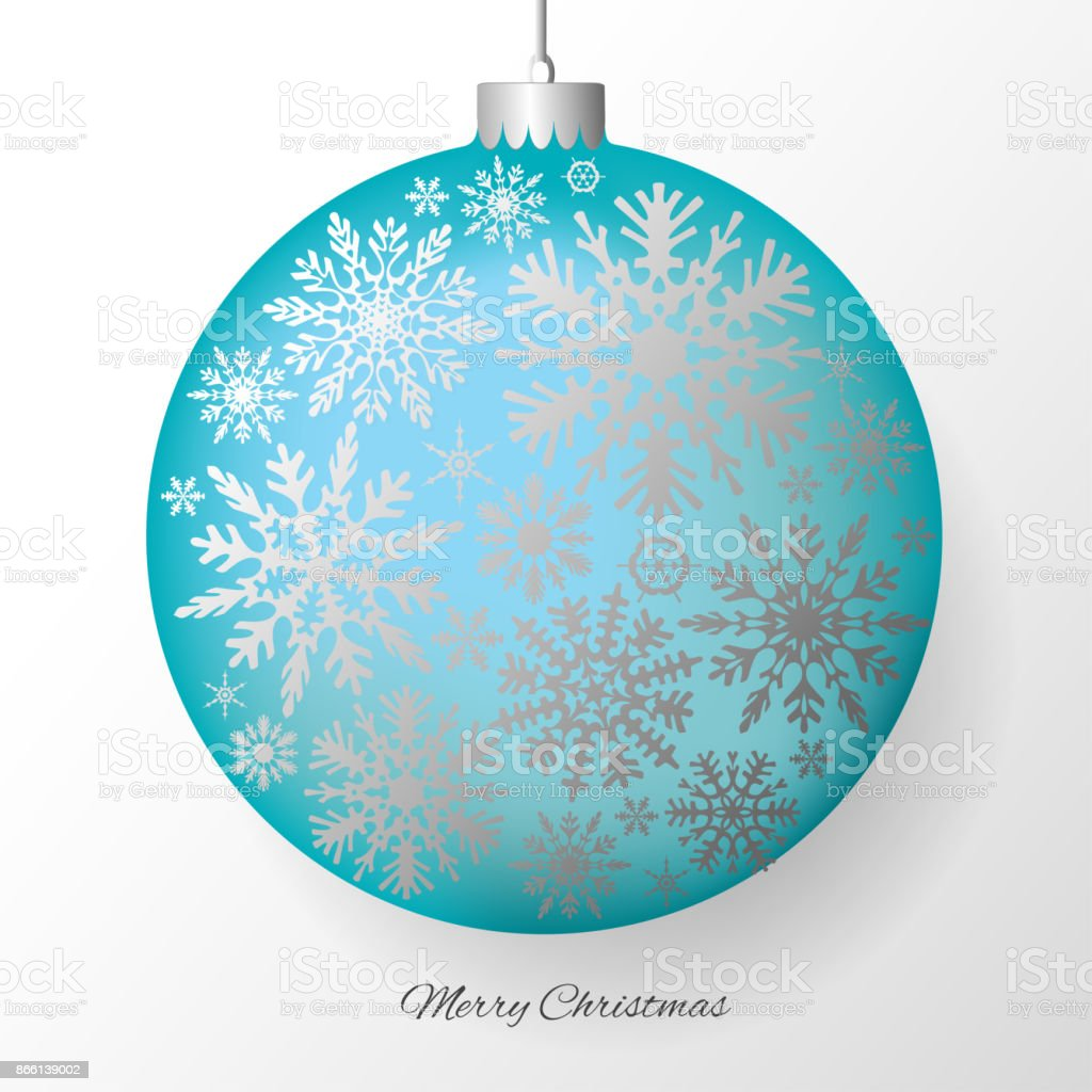 christmas decorations a blue ball silver new years vector background - Aqua Christmas Decorations
