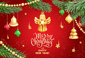 Vector banner for Merry Christmas and Happy New Year holidays. Christmas Angel holding star, realistic branches of fir tree, colored glass toys, sequins and gold garlands on red background