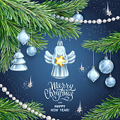 Vector template for Merry Christmas and Happy New Year Greeting card. Christmas Angel holding gold star, realistic branches of fir tree, silver glass toys, sequins and garlands on dark blue background