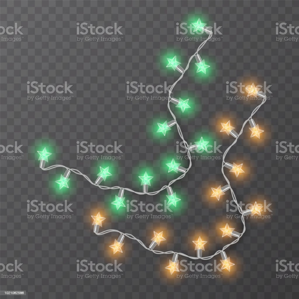 Christmas Decorations Christmas Lights And Garlands On A Transparent