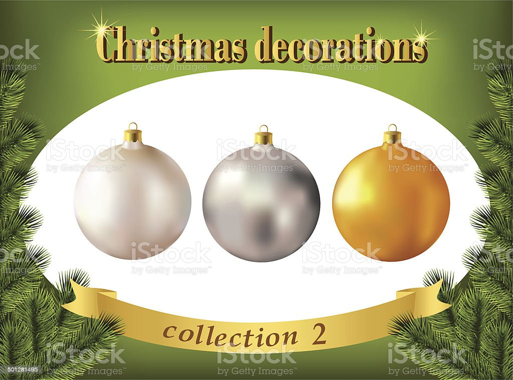 Christmas decorations. Collection of white, silver and golden glass balls royalty-free stock vector art