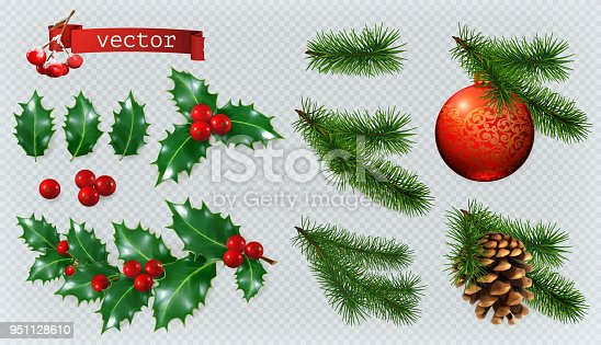 Christmas decorations. Holly, spruce, red berries, christmas bauble, conifer cone. 3d realistic vector icon set