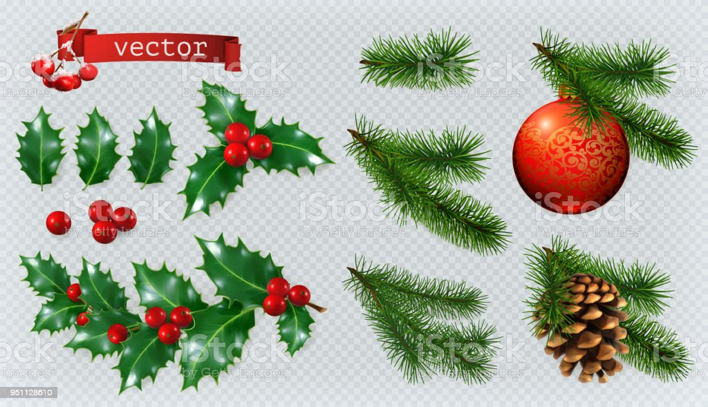 Christmas decorations. Holly, spruce, red berries, christmas bauble, conifer cone. 3d realistic vector icon set vector art illustration